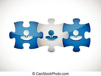 puzzle, affaires gens, illustration, morceaux