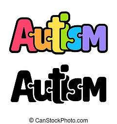 puzzle, arc-en-ciel, autism, texte