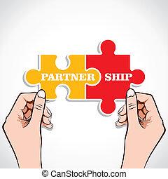 puzzle, association, morceau, main