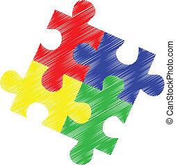 puzzle, autism, morceaux