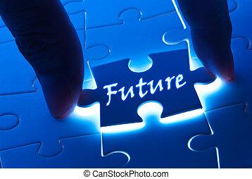 puzzle, avenir, mot, morceau