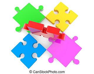 puzzle, blanc, coloré