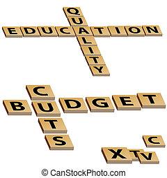 puzzle, budget, mots croisés, coupures, education, qualité