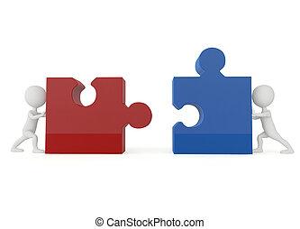 puzzle, caractère, humanoïde, morceaux, poussée, 3d
