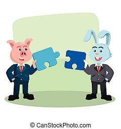 puzzle, collaborer, conception, illustration