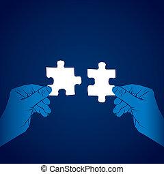 puzzle, concept, joindre, morceau