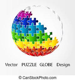 puzzle, conception, globe, 3d
