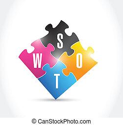 puzzle, conception, illustration, swot