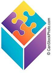 puzzle, cube, coloré