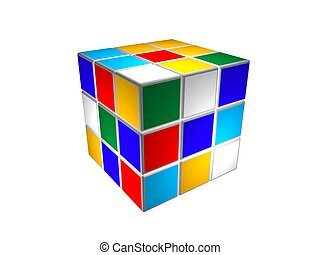 puzzle, cube, unsolved