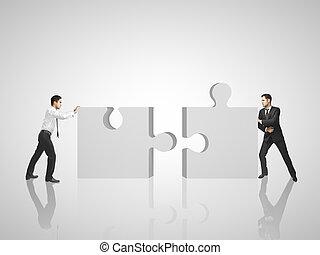 puzzle, deux, met, homme