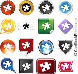puzzle, ensemble, étiquette