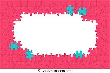 puzzle, frame., pieces., puzzle, illustration, rouges, vecteur