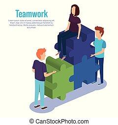 puzzle, gens, collaboration, morceaux