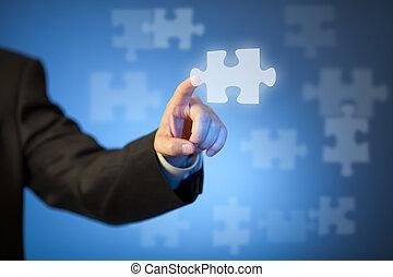 puzzle, homme affaires, main, toucher, morceau, résumé