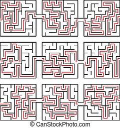puzzle, illustration, vecteur, labyrinthe, solution, manière