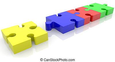 puzzle, inachevé, coloré