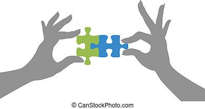 puzzle, mains, solution, ensemble, morceaux