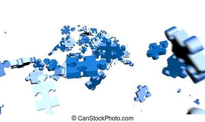 puzzle, montage, tête, morceaux
