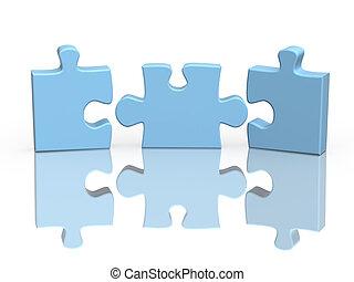 puzzle, parties, trois