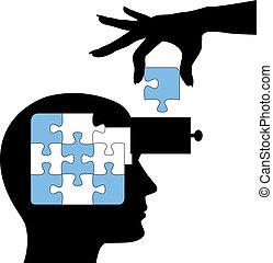 puzzle, personne, apprendre, esprit, solution, education
