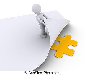 puzzle, personne, papier, découvre, sous, morceau