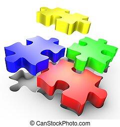 puzzle, placement, coloré, morceaux