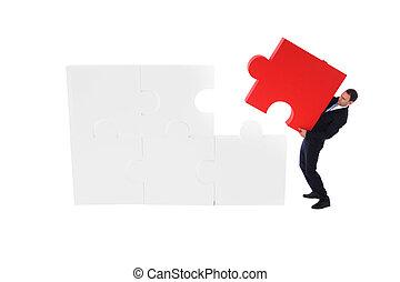 puzzle, pousser, final, business, morceau