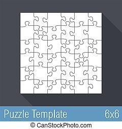 puzzle, puzzle, 36, gabarit, morceaux