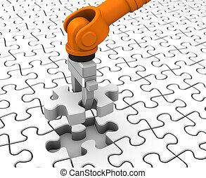 puzzle, puzzle, robot, tenue, morceau