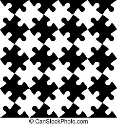 puzzle, puzzle, seamless, arrière-plan noir, blanc, mosaïque