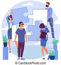 puzzle, résoudre, gens