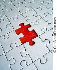 puzzle, rouges, élément