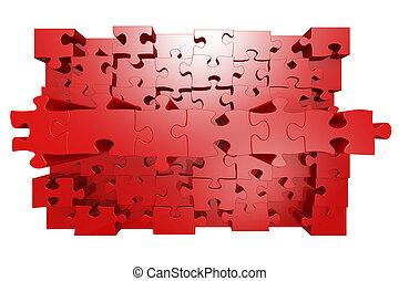 puzzle, rouges, effet, 3d, puzzle
