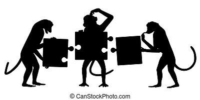 puzzle, silhouette, singe