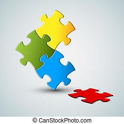 puzzle, solution, /, vecteur, fond, résumé