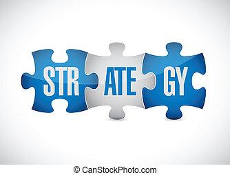 puzzle, stratégie, conception, illustration, morceaux