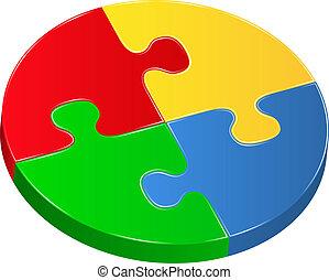 puzzle, vecteur, cercle