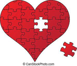 puzzle, vecteur, coeur rouge