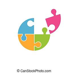 puzzle, vecteur, conception, illustration
