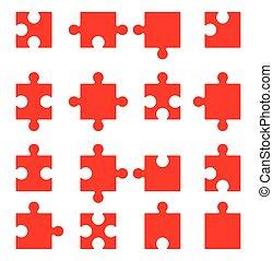 puzzle, vecteur, ensemble, icônes