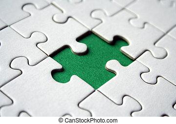 puzzle, vert, élément