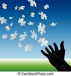 puzzle, voler, main