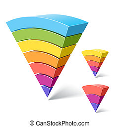 pyramide, 7, 3-layered, formes, 5