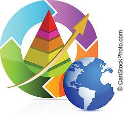 pyramide, business, flèche, cycle