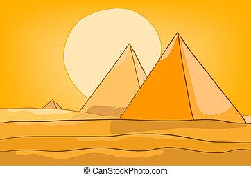 pyramide, dessin animé, paysage, nature