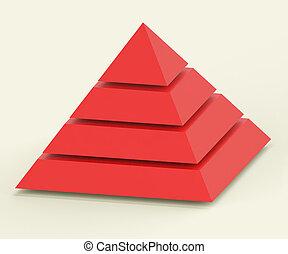 pyramide, hiérarchie, segments, ou, progrès, projection