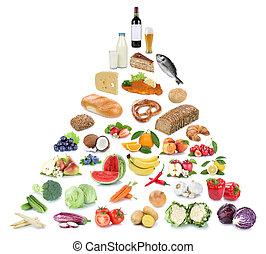 pyramide, nourriture mangeant, légumes, isolé, sain, fruit, fruits, collage