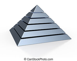 pyramide, six, niveaux, coloré