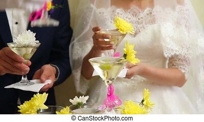 pyramide, verres vin, mariage